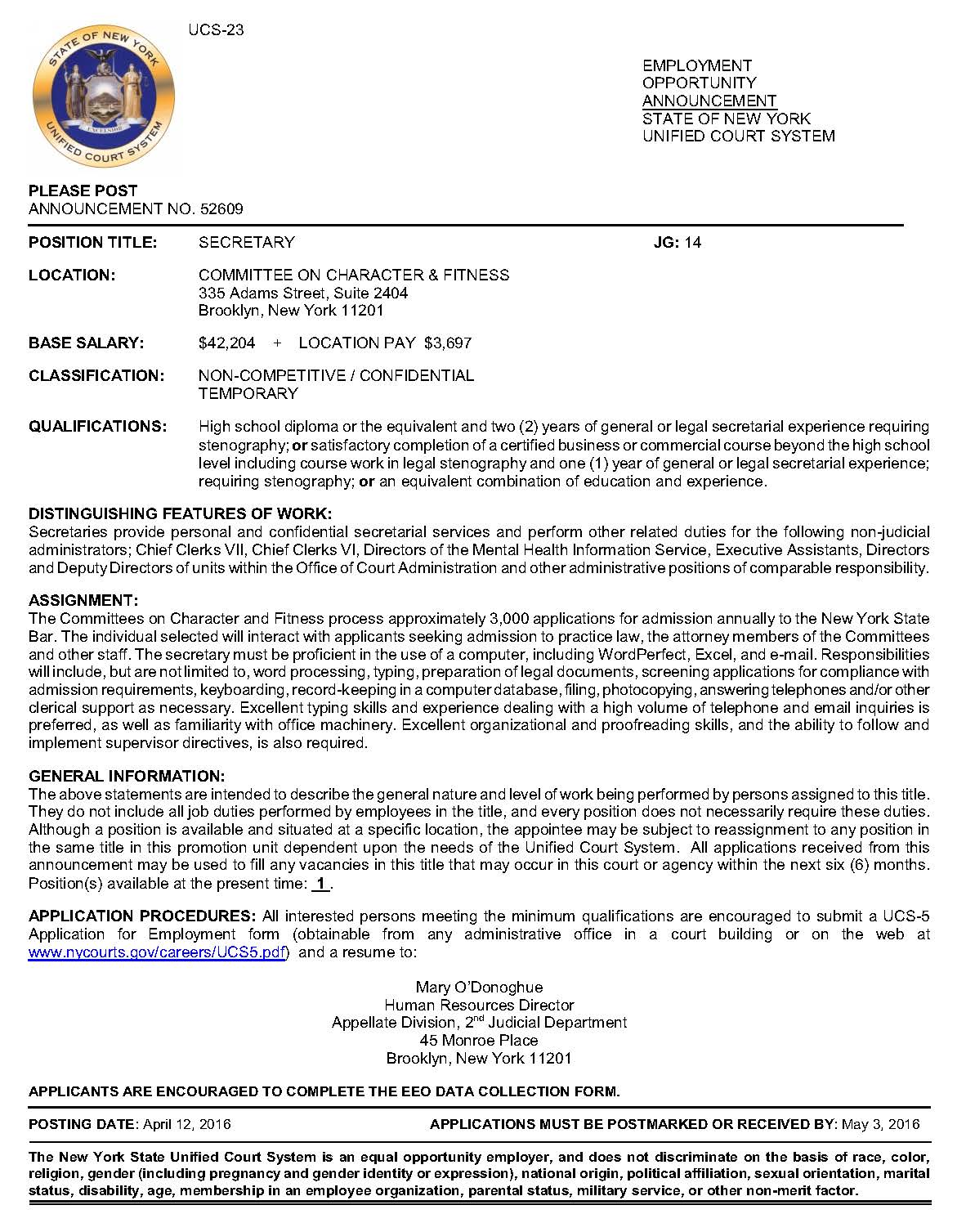 Secretary Needed at Unified Court | Community Board 8 Brooklyn