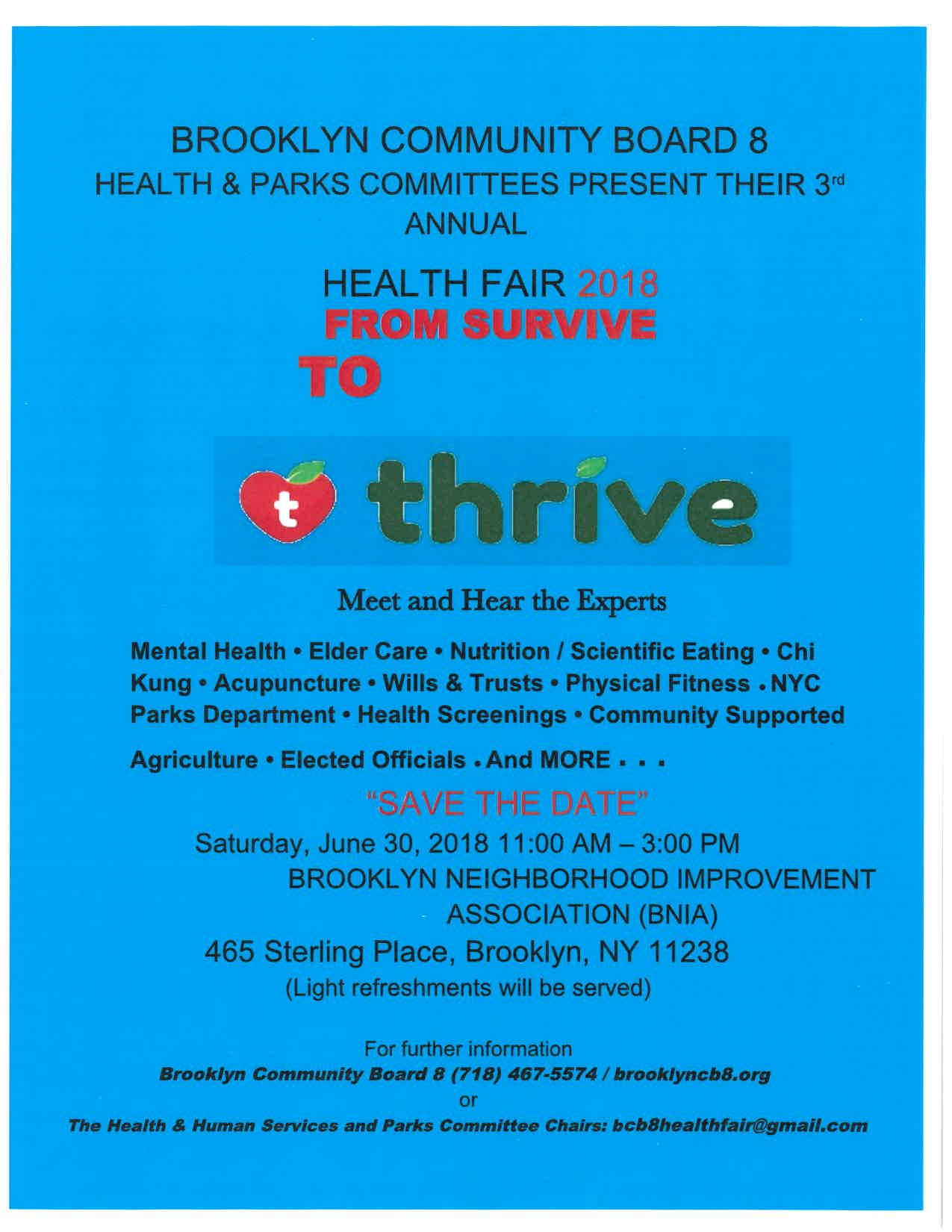 3rd Annual Health Fair | Community Board 8 Brooklyn