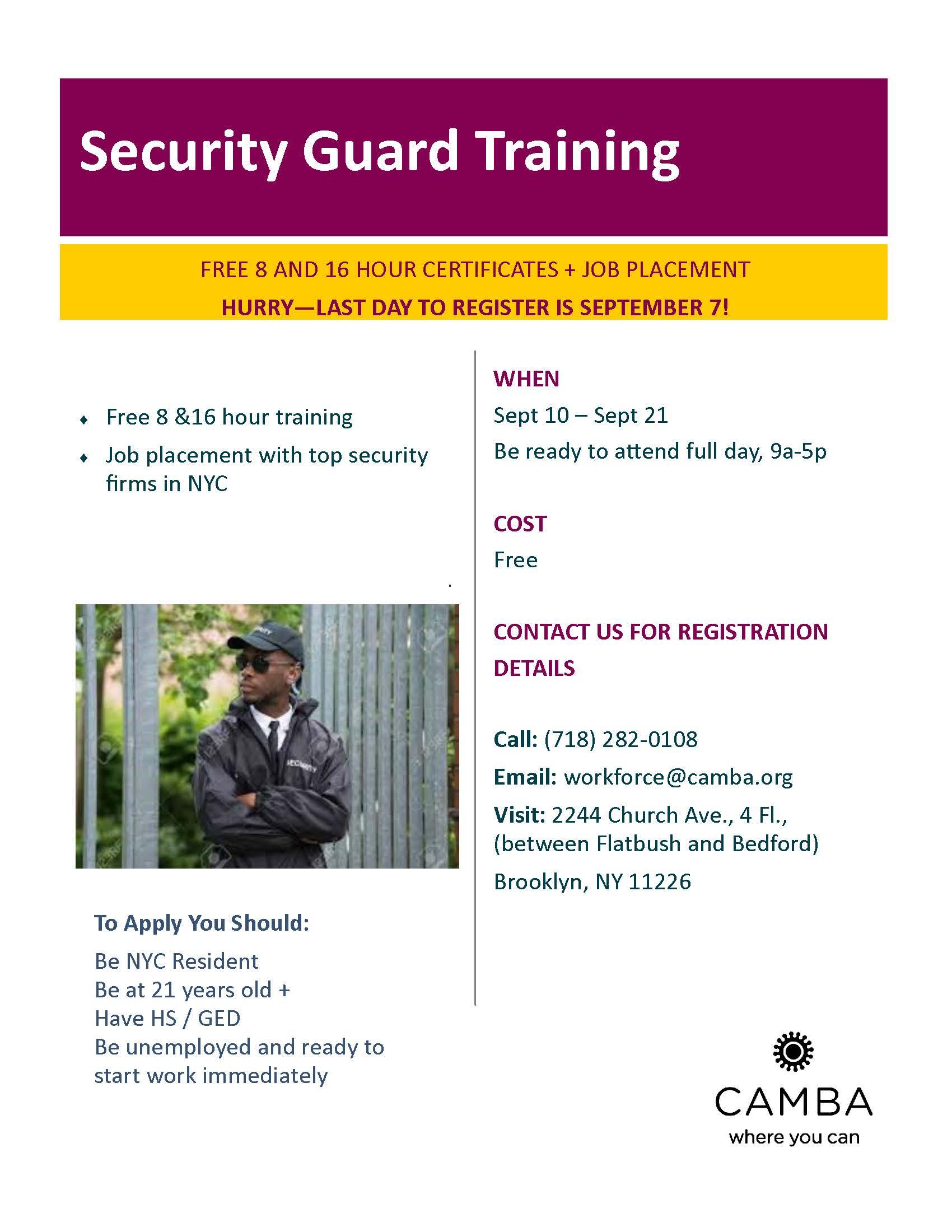 Free Security Guard Training | Community Board 8 Brooklyn